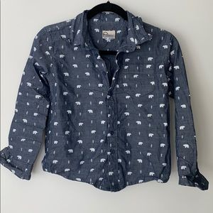 Boys Blue Polar Bear Button Down Shirt